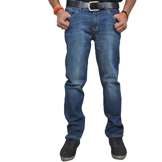 BBN Blue Cotton Relaxed Faded Jeans for Men