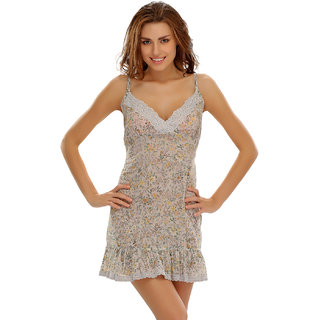 Clovia Floral Short Nightdress In Soft Cotton