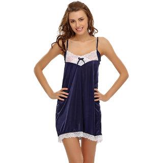 Clovia Lacy Short Nightdress In Navy Blue