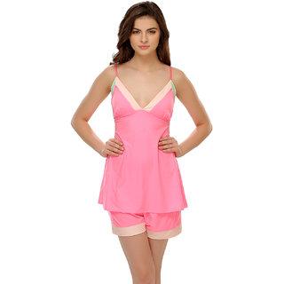 Clovia Neon Pink Chic Cami & Shorts Set