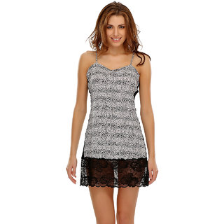Clovia Sexy Short Nightdress In Animal Prints