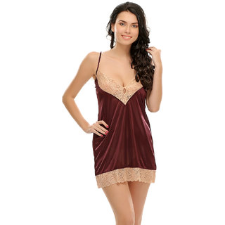Clovia Maroon Sexy Short Nightdress