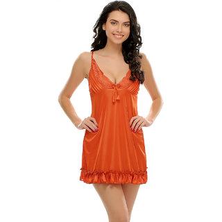 Clovia Sexy Ruffled Babydoll In Rust Orange