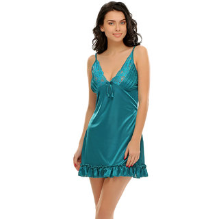 Clovia Sexy Ruffled Babydoll In Teal Green