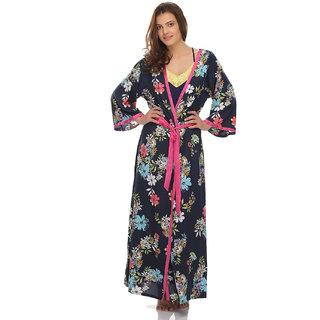 Clovia Classic Floral Printed Long Robe
