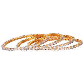Traditional and Antique Design AD Stone Gold Plated Bangle Set (DP-1067)