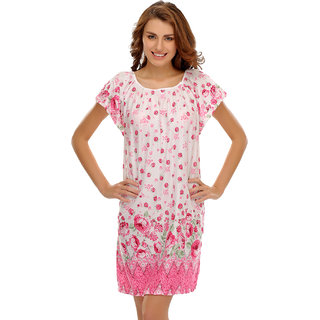 Clovia Short Nightdress With Cute Floral Prints