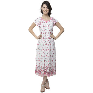 Clovia Long Nightdress With Cute Floral Prints