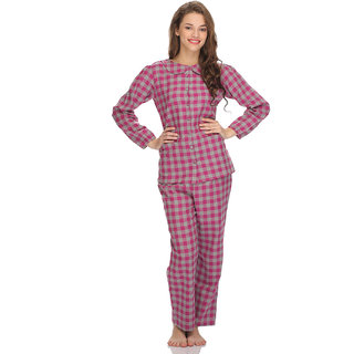 Clovia Funky Cotts Wool Nightwear Set In Hot Pink