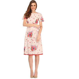 Clovia Floral Printed Short Night Dress In Ecru