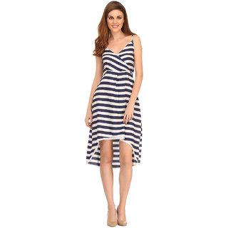 Clovia Sailor Stripe Dress In Navy