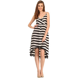 Clovia Sailor Stripe Dress In Black