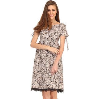 Clovia Grey Floral Printed Short Beach Dress