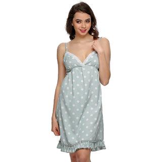 Clovia Pista Green Polka Beach Dress