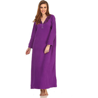 Clovia Winter Long Nightie In Dark Purple