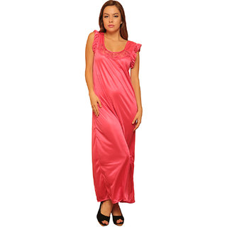 Clovia 4 Pcs Freesize Stretchable Satin Nightwear In Reddish Pink Color