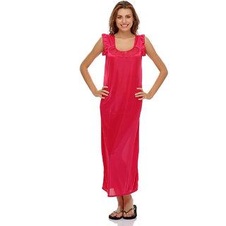 Clovia Satin Nightie In Reddish Pink