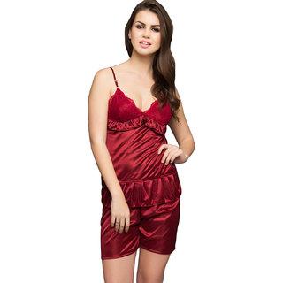 Clovia Satin Camisole & Shorts In Maroon