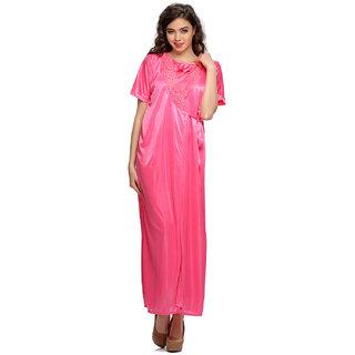Clovia 2 Pcs Satin Nightwear Set In Pink- Long Robe & Nightie