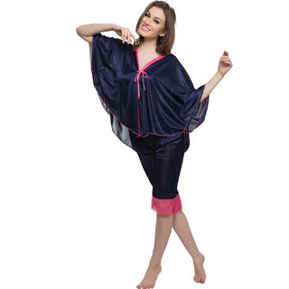 Clovia Set Of Top And Pyjama In Navy
