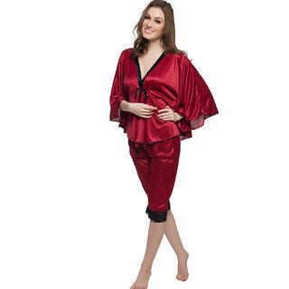 Clovia 2 Pcs Satin Nightwear Set In Maroon & Black - Kaftan Top & Pyjama