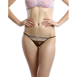Clovia All Over Lycra Lace Thongs In Choco