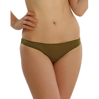 Clovia Lace Floral Brief In Muted Green