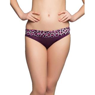 Clovia Brief In Purple With Lace
