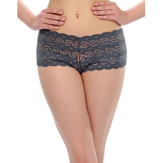 Clovia Lacy Hipster Brief In Grey