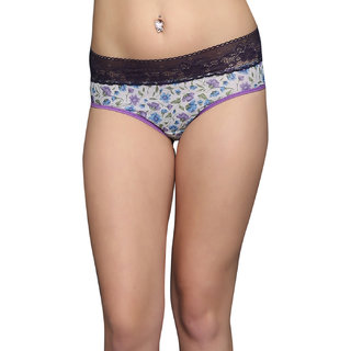 Clovia Floral Lace Brief In Navy And White