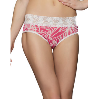Clovia Floral Lace Brief In Pink And White