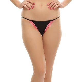 Clovia Sexy Black Bikini With Orange Lace
