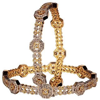 Antique Designer  Golden Color with White Stone Jewellery Bangles Set (DP-1070)