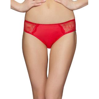 Clovia Lacy Lycra Red Bikini Brief