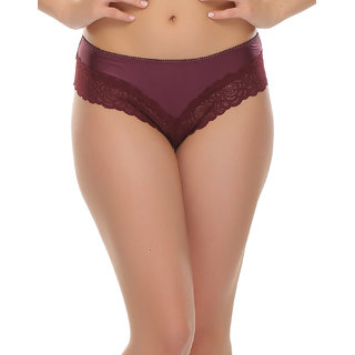 Clovia Lace Hipster In Dark Purple
