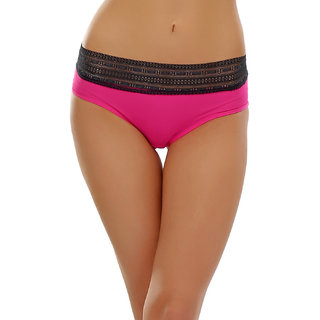 Clovia Neon Pink Hipster With Lace Trim