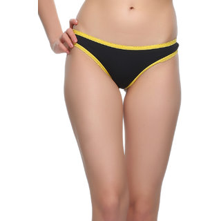 Clovia Bikini In Black With Yellow Highlight