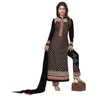de2fbafd3a BanoRani Black Color Faux GeorgetteFull Sleeves Embroidered UnStitched  Dress Material (Pant Style) H-