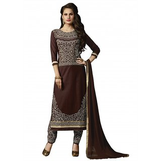 BanoRani Brown Color Cotton Embroidery Semi Stitched Salwar Suit (Pant Style) P-1447