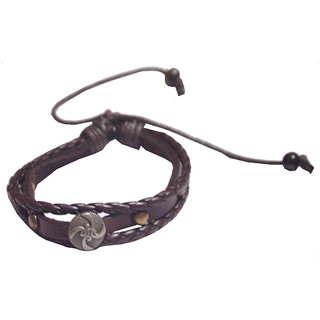 Men Style Brown Design Leather Bracelet For Mens  Boys