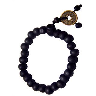 Men Style Black Feng Shui Coin With Tibetan Buddha Prayer Bracelet For