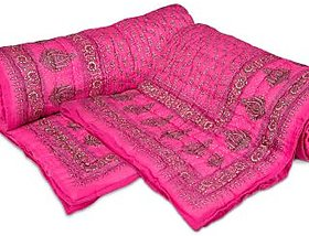 Shop Rajasthan Sanganeri Buy 1 Get 1 Free Gold Print Pink Single Bed Quilt