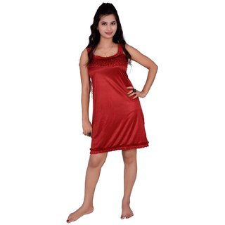 Kismat Fashion Maroon Short Nighty Kn07