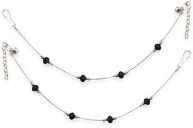 Sparkling Non Plated Black & Silver Alloy Anklets For Women