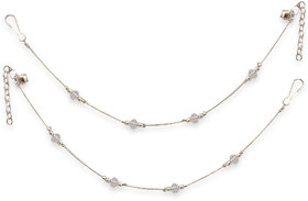 Sparkling Jewellery Non Plated Silver & White Alloy Anklets For Women