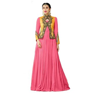 AaziFashions Georgette, Silk Embroidered Semi-stitched Gown
