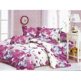 Beautiful flowers Printed double bed sheets with 2 pillow cover