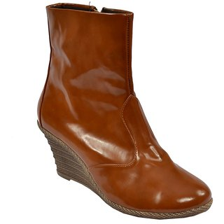 Glossy Women Casual Brown Boot
