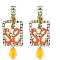 Kriaa Meenakari Peacock Orange Austrian Stone Gold Finish Earrings - 1306224