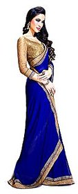 Bhuwal Fashion Purple Georgette Self Design Saree With Blouse